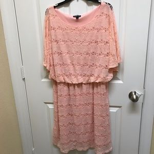 Blooming Rose Woman Peach Lace Dress